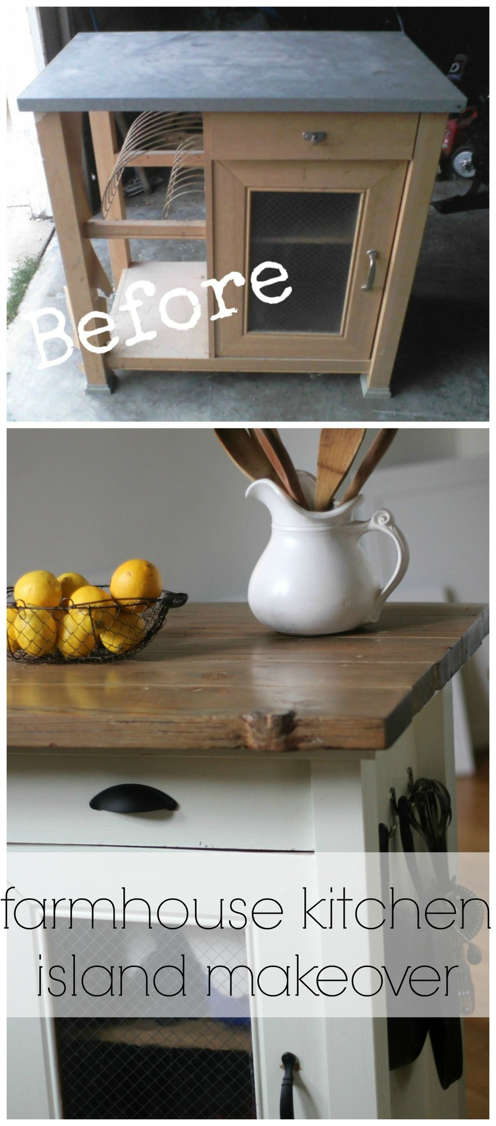 Rustic Farmhouse Style Kitchen Island Makeover DIY Farmhouse on
