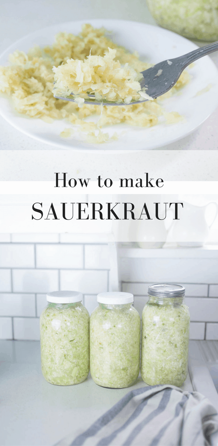 two pictures of homemade sauerkraut