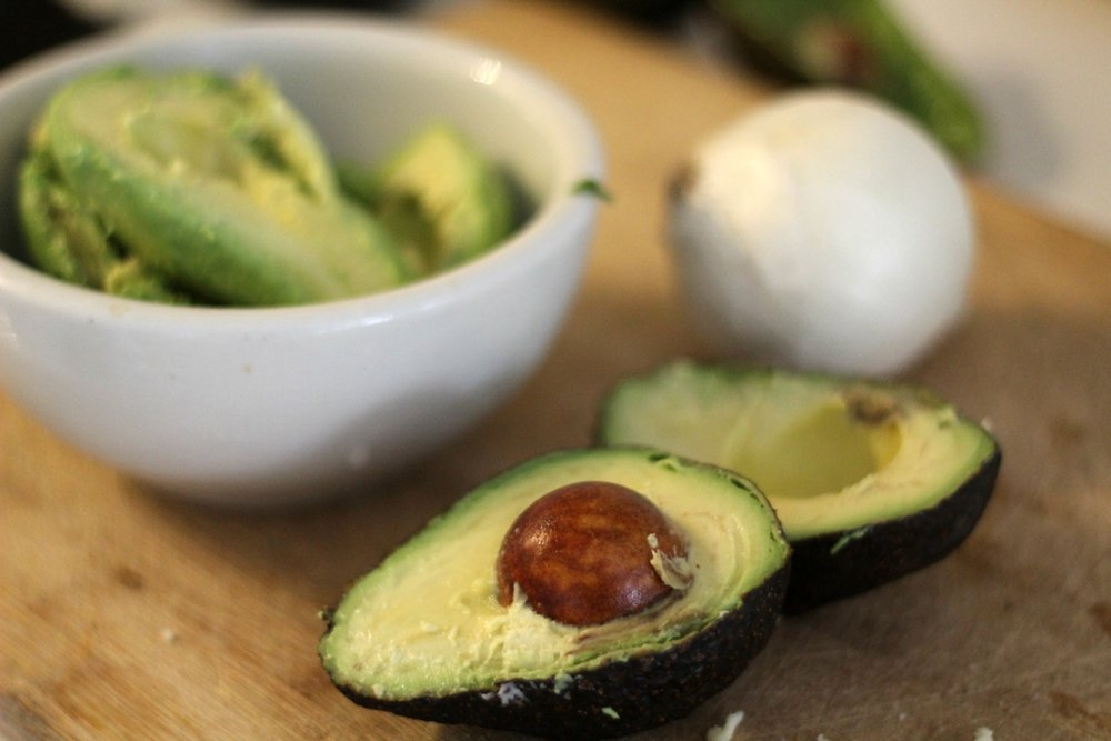 cast iron skillet meal avocados