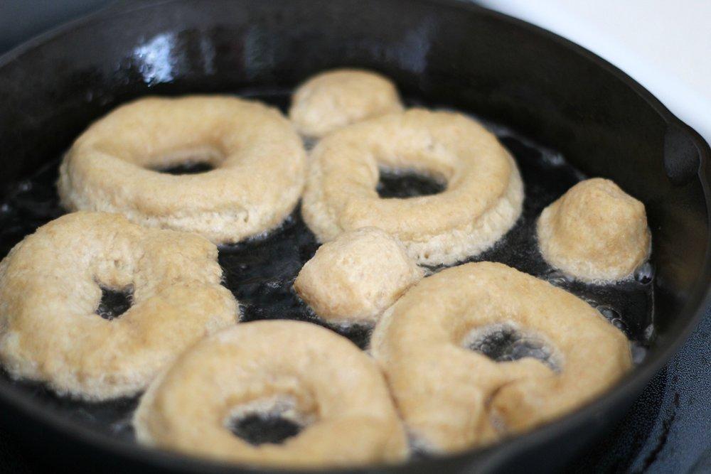 whole grain coconut oil sourdough doughnuts fry