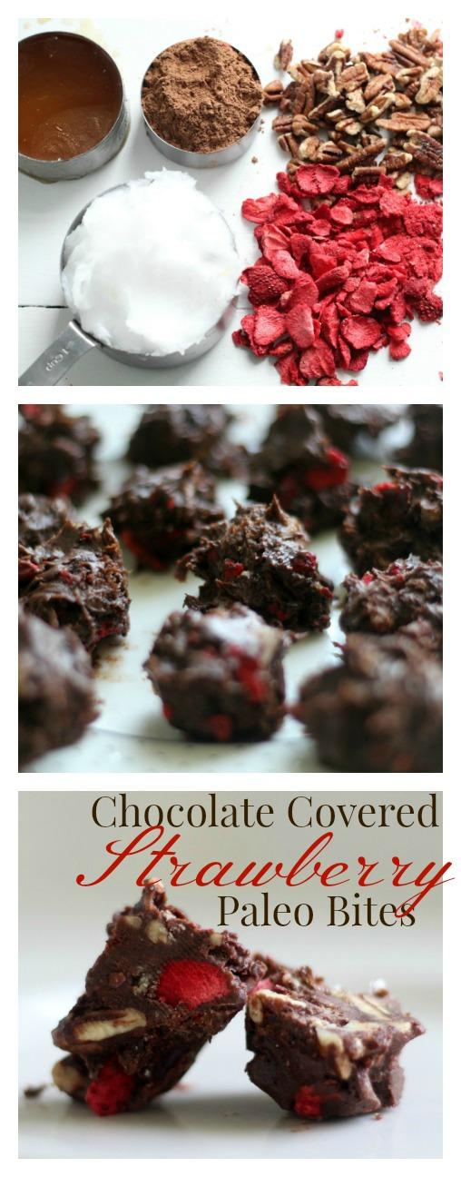 chocolate covered strawberry paleo bites