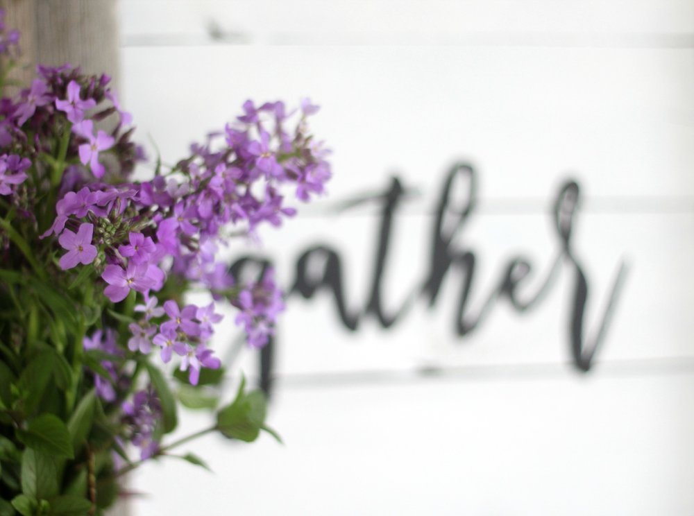 gather sign wildflowers and mint