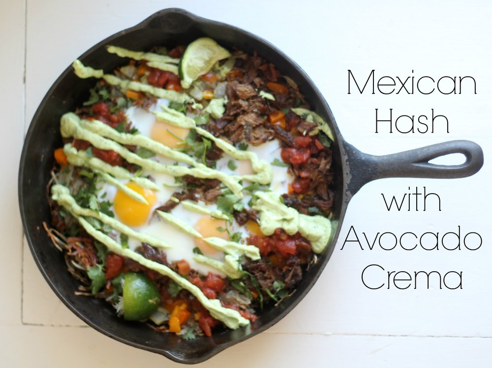 mexican hash with avocado crema