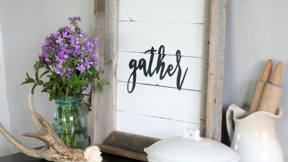 gather sign dining room