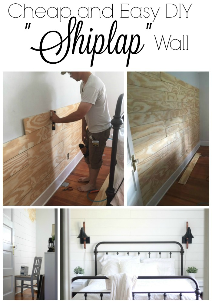four pictures of DIY Shiplap walls in an old farmhouse.