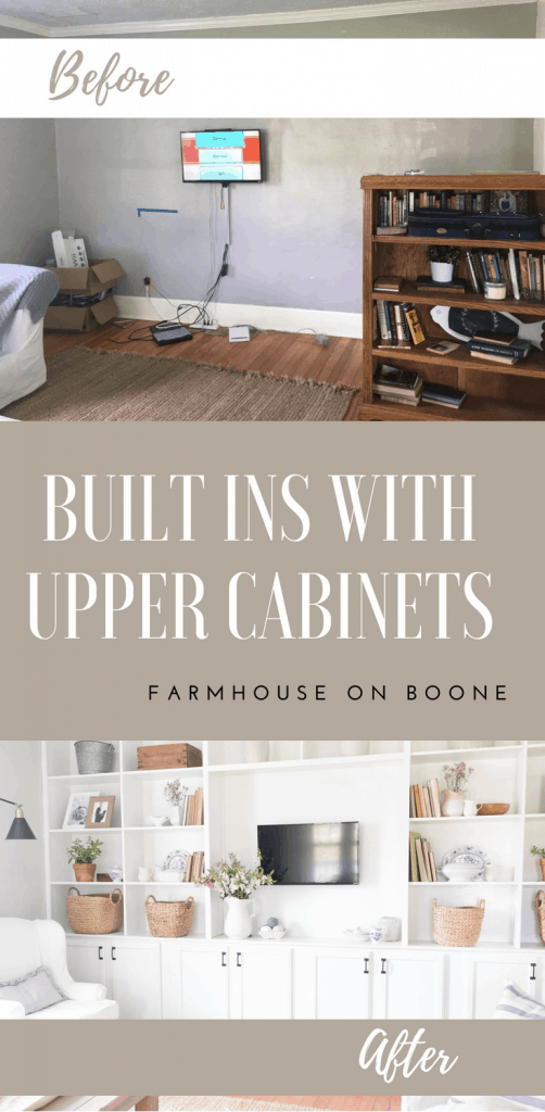 Built in shelves living room DIY built ins with upper cabinets