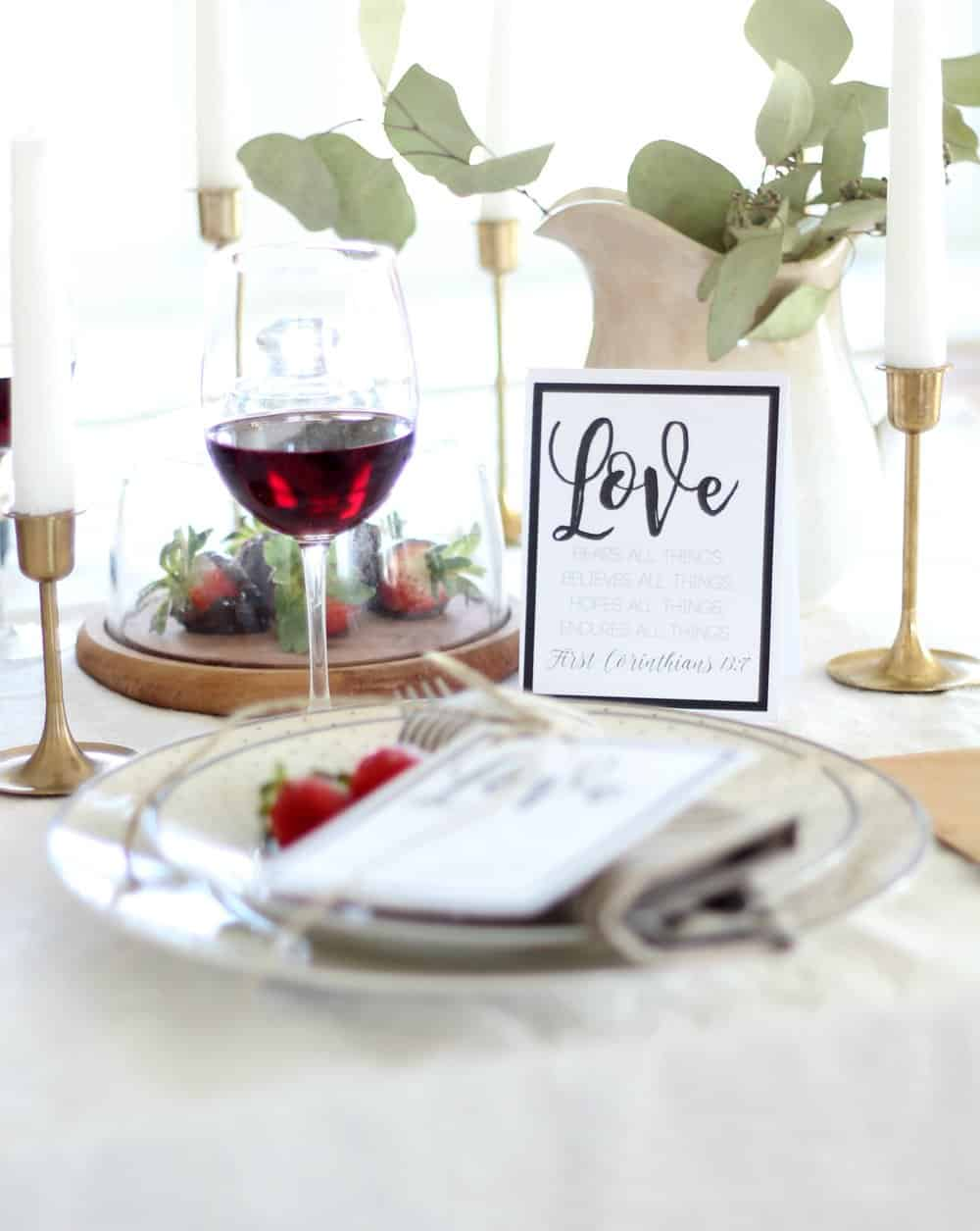 Valentine\'s Day Table Setting and Free Printable - Farmhouse on Boone