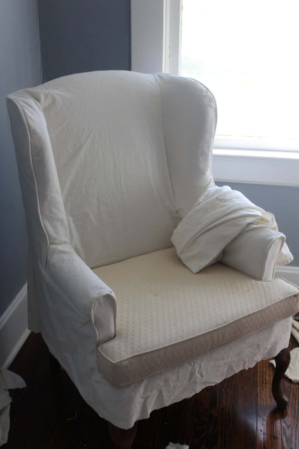 How to Sew a Slipcover for a Wingback Chair Farmhouse on Boone