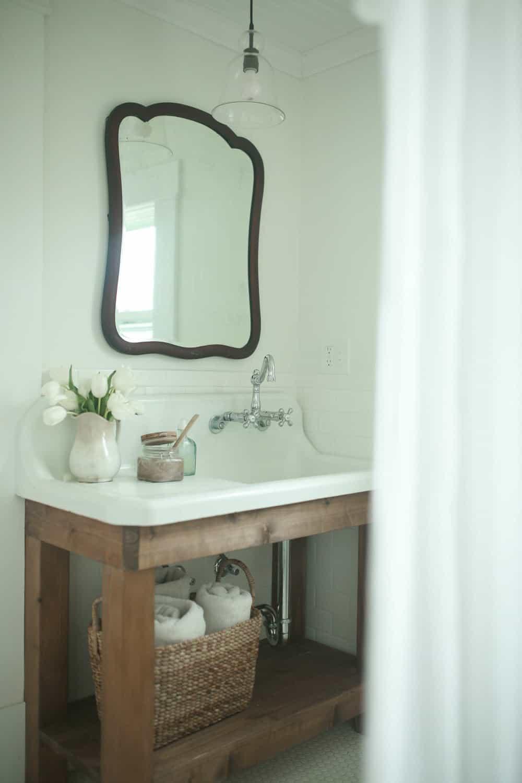 sink nellie coffee vanity bathroom antique farmhouse