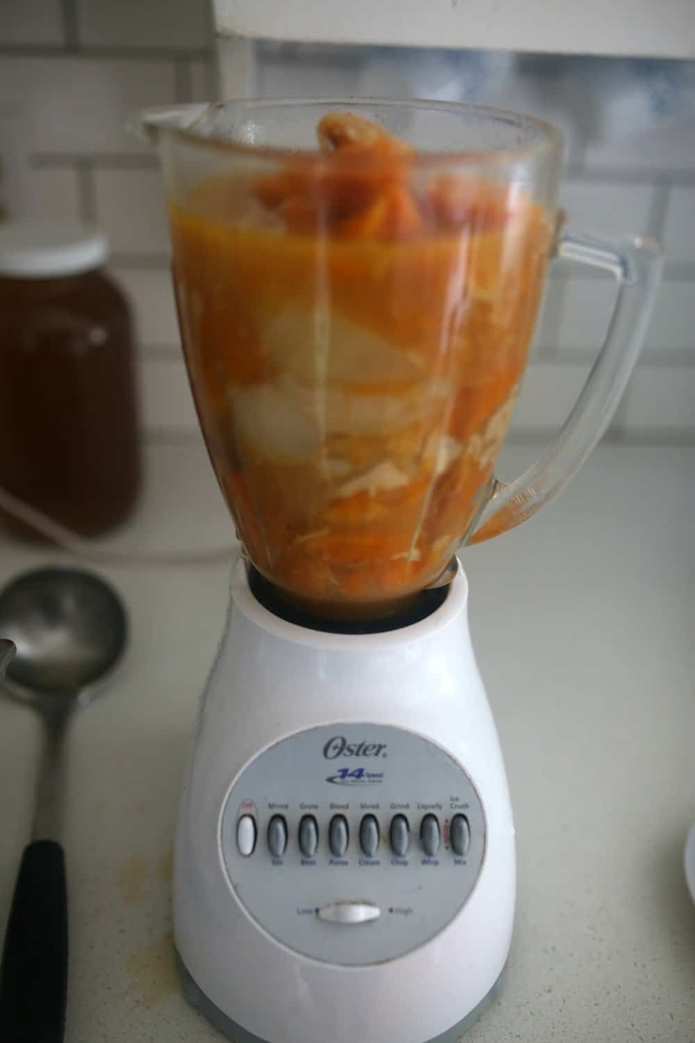 roasted butternut squash soup in a blender to puree the veggies into a creamy soup