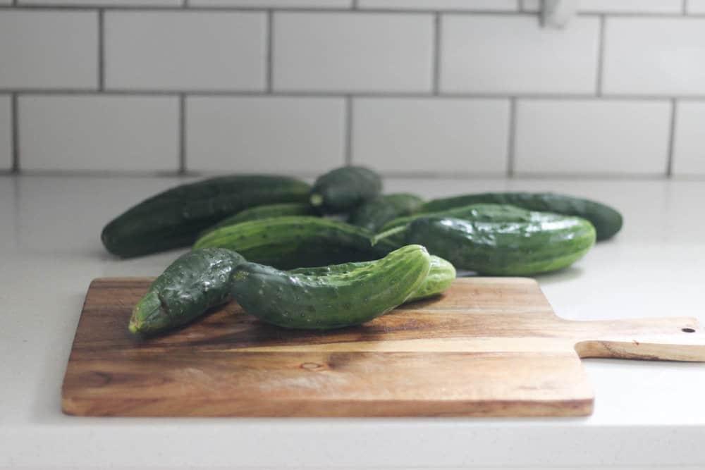 cucumbers on a cutting board