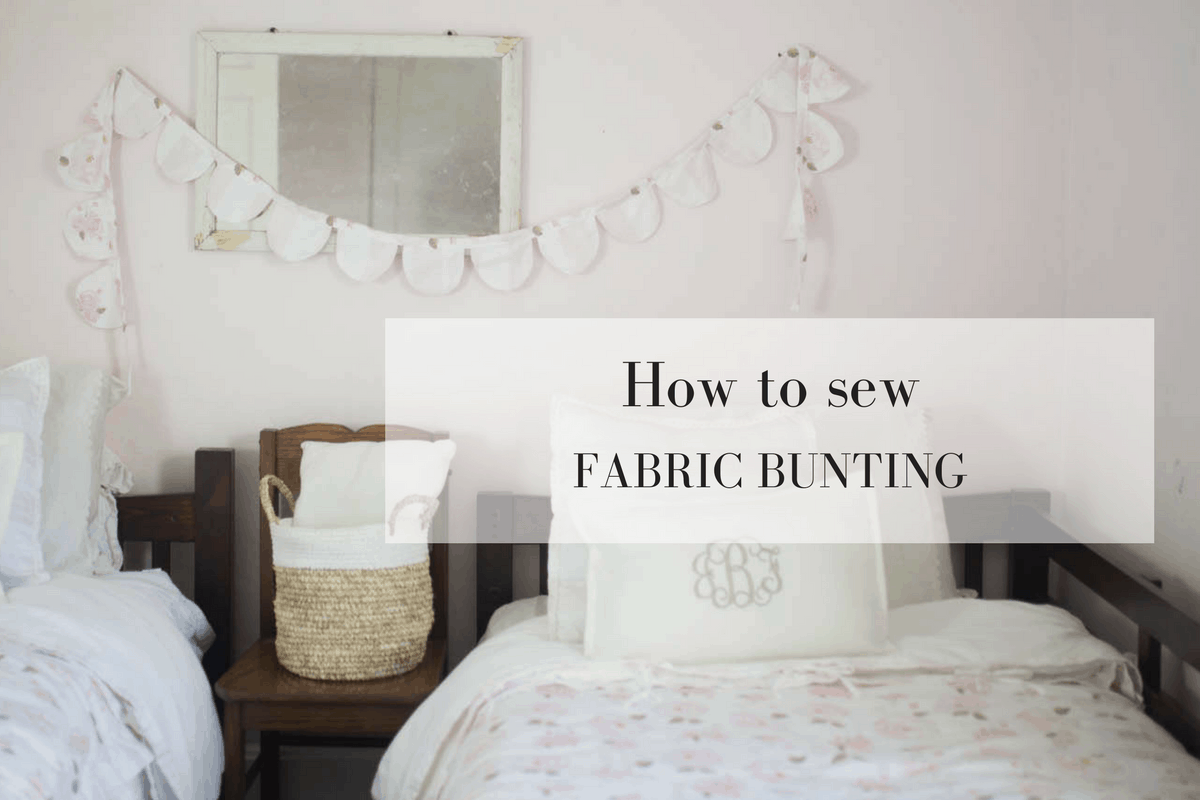 Learn how to make fabric bunting from scrap fabrics to match a kids room.