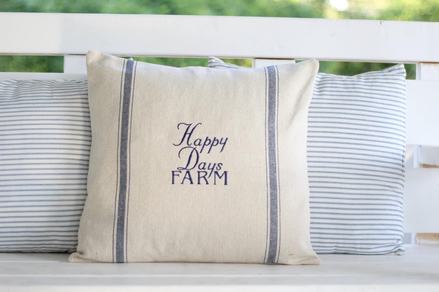 Customized Farm Name Grain Sack Pillow Cover Available In