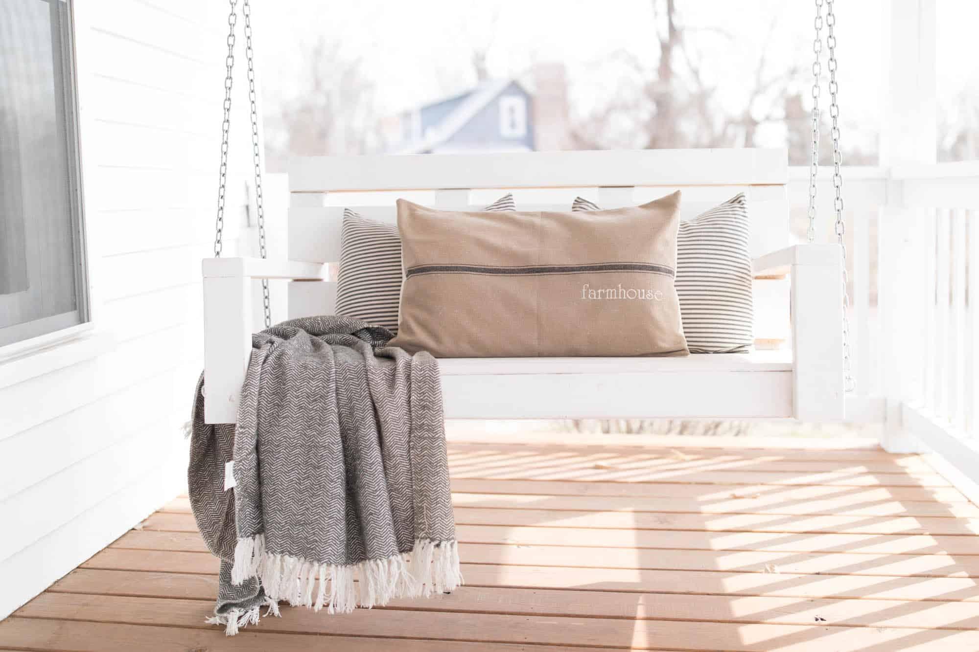 Farmhouse Grain Sack Pillow Cover Available With Blue