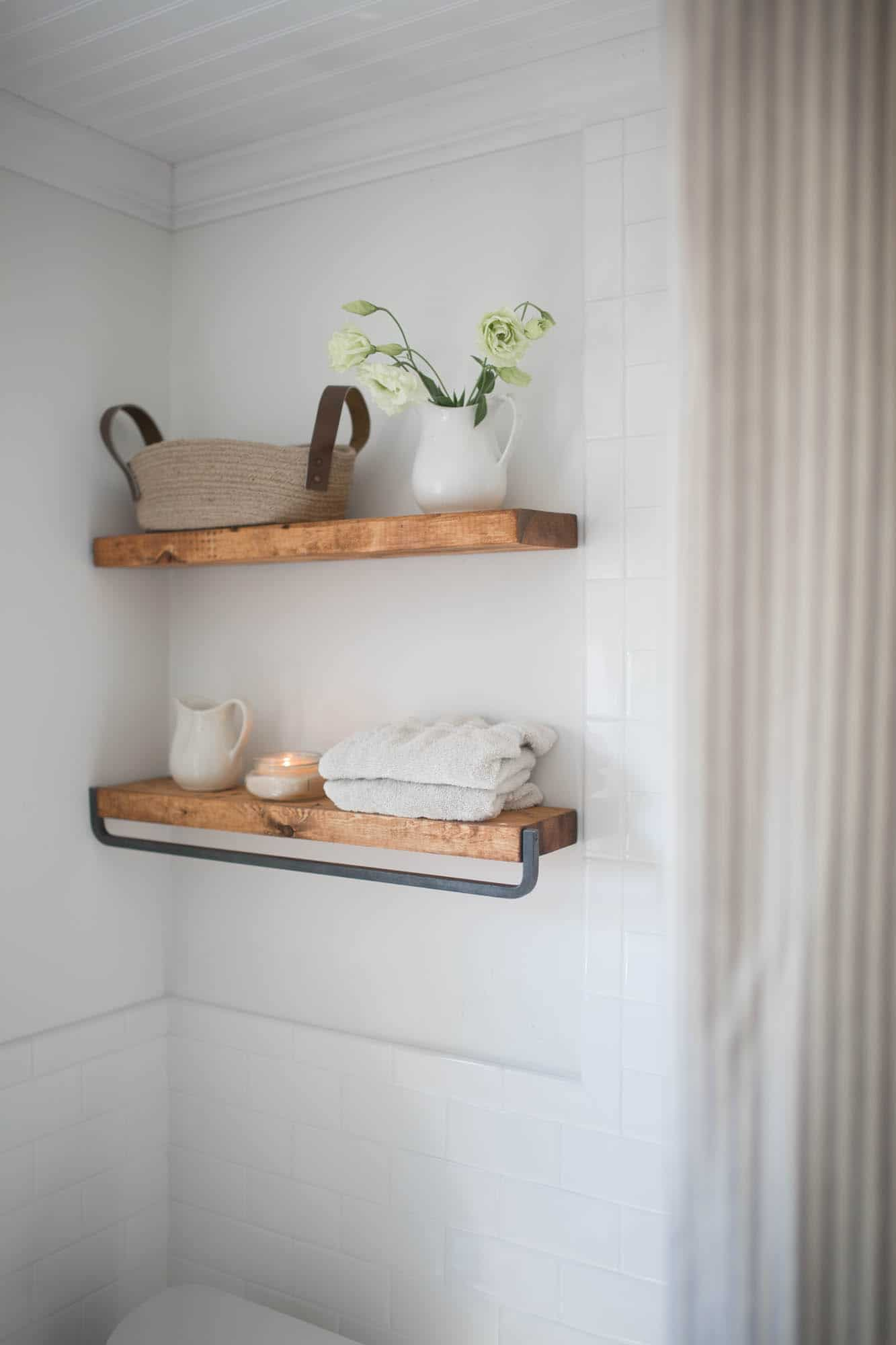 Farmhouse Bathroom Decor- Floating Shelves