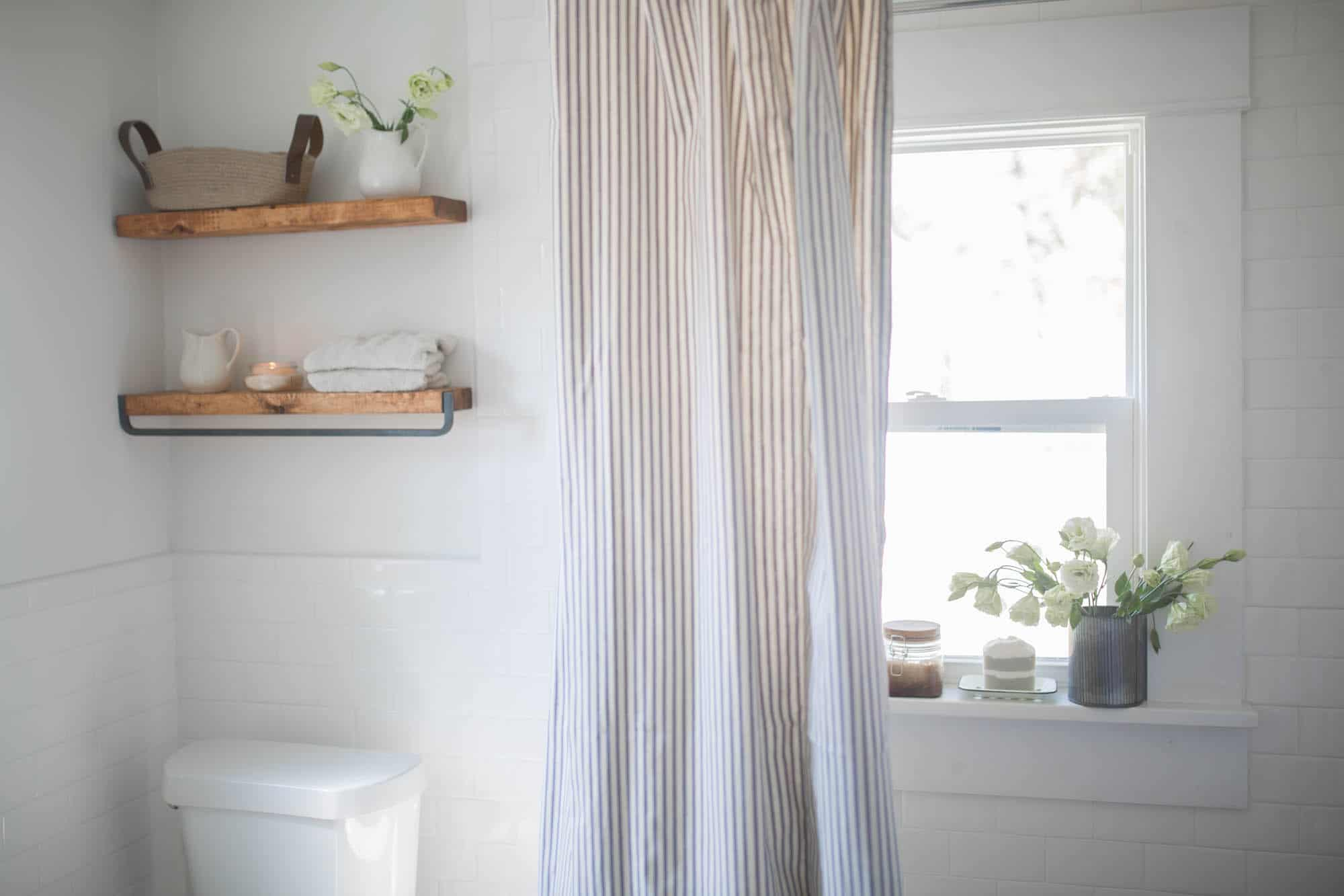 Farmhouse Bathroom Decor- Ticking Stripe Shower Curtain