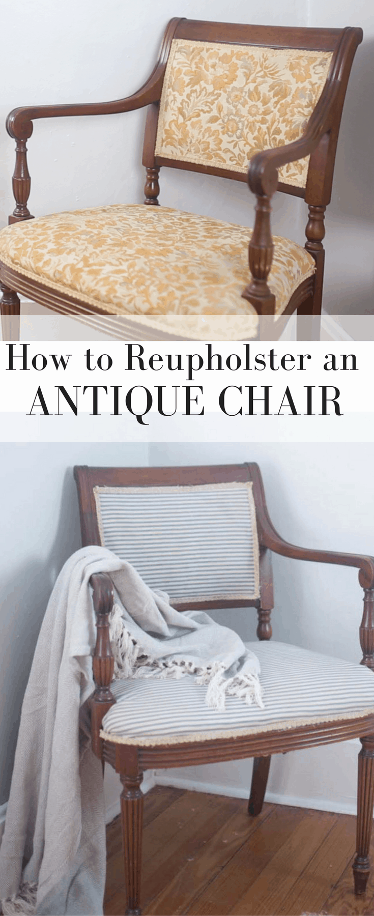 two pictures of an antique chair, before and after reupholstering in blue and white ticking stripe - how to reupholster a chair