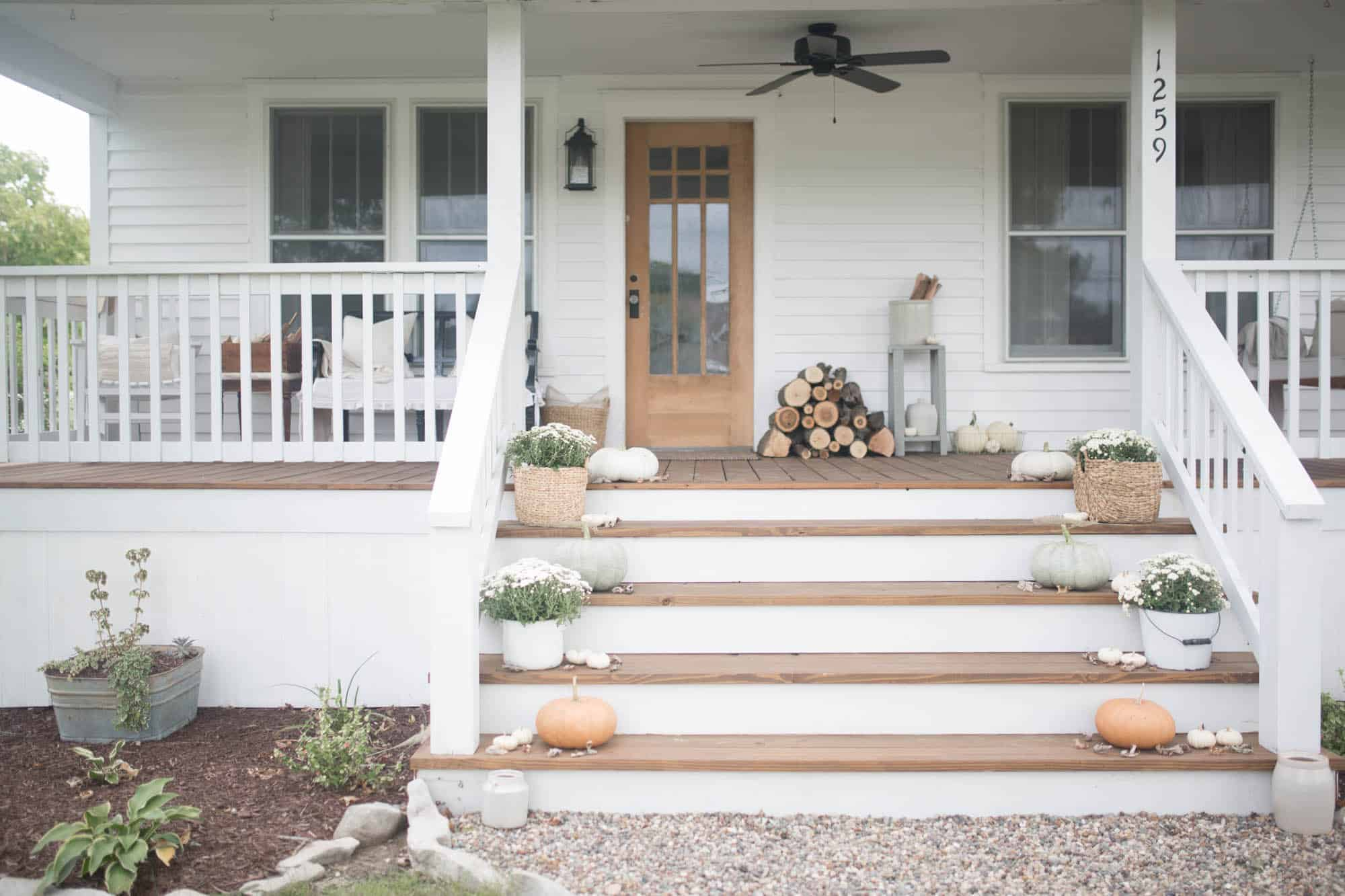 Fall Farmhouse Front Porch Decor with Farmhouse