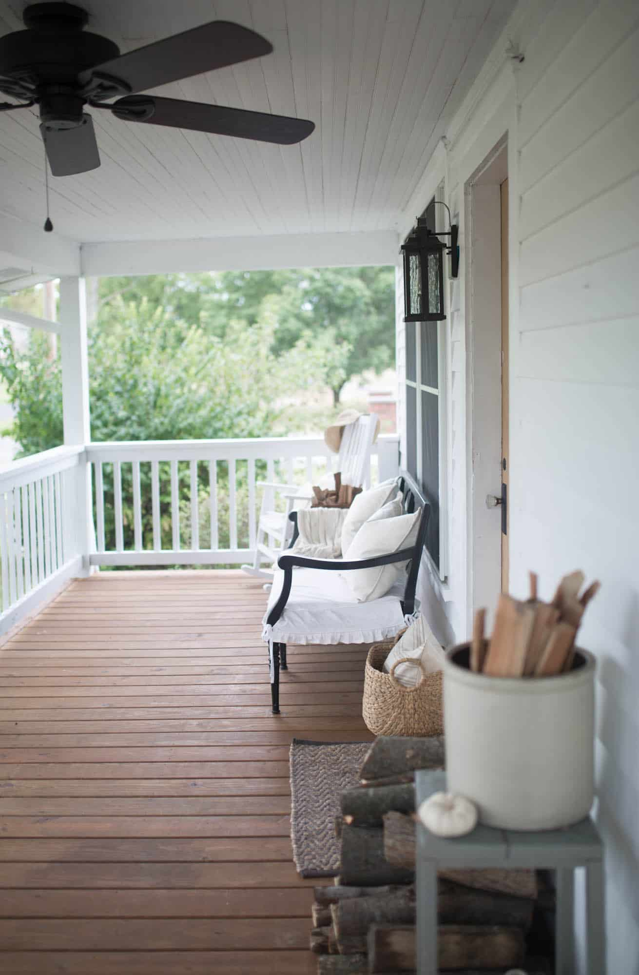 Fall Farmhouse Front Porch Decorating With On Boone