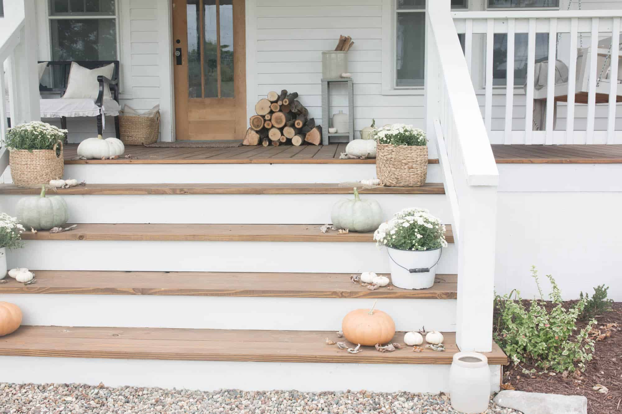 Fall Farmhouse Front Porch Decorating With Mums And Pumpkins