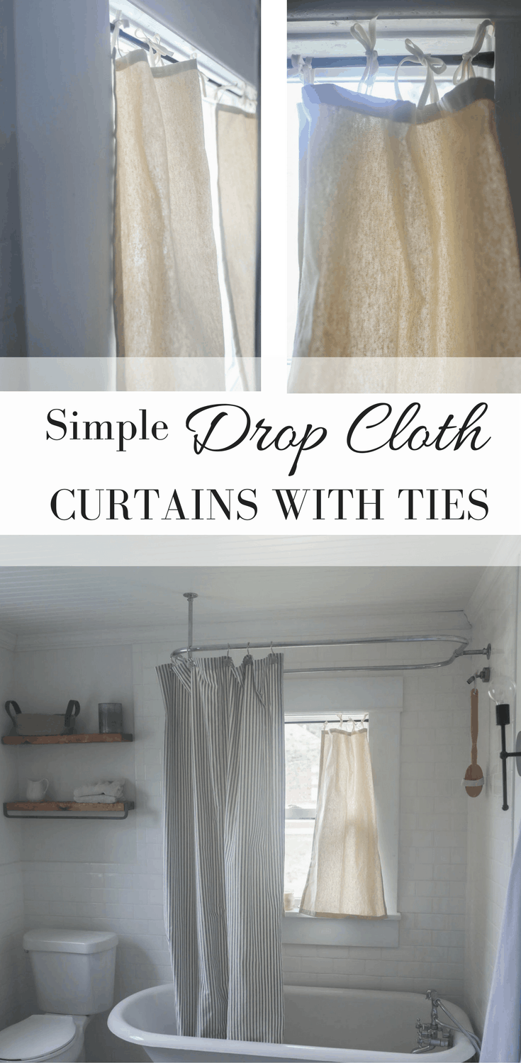 How to Make Drop Cloth Curtains. Simple Video Tutorial to Make Drop Cloth Curtains with Ties at the Top