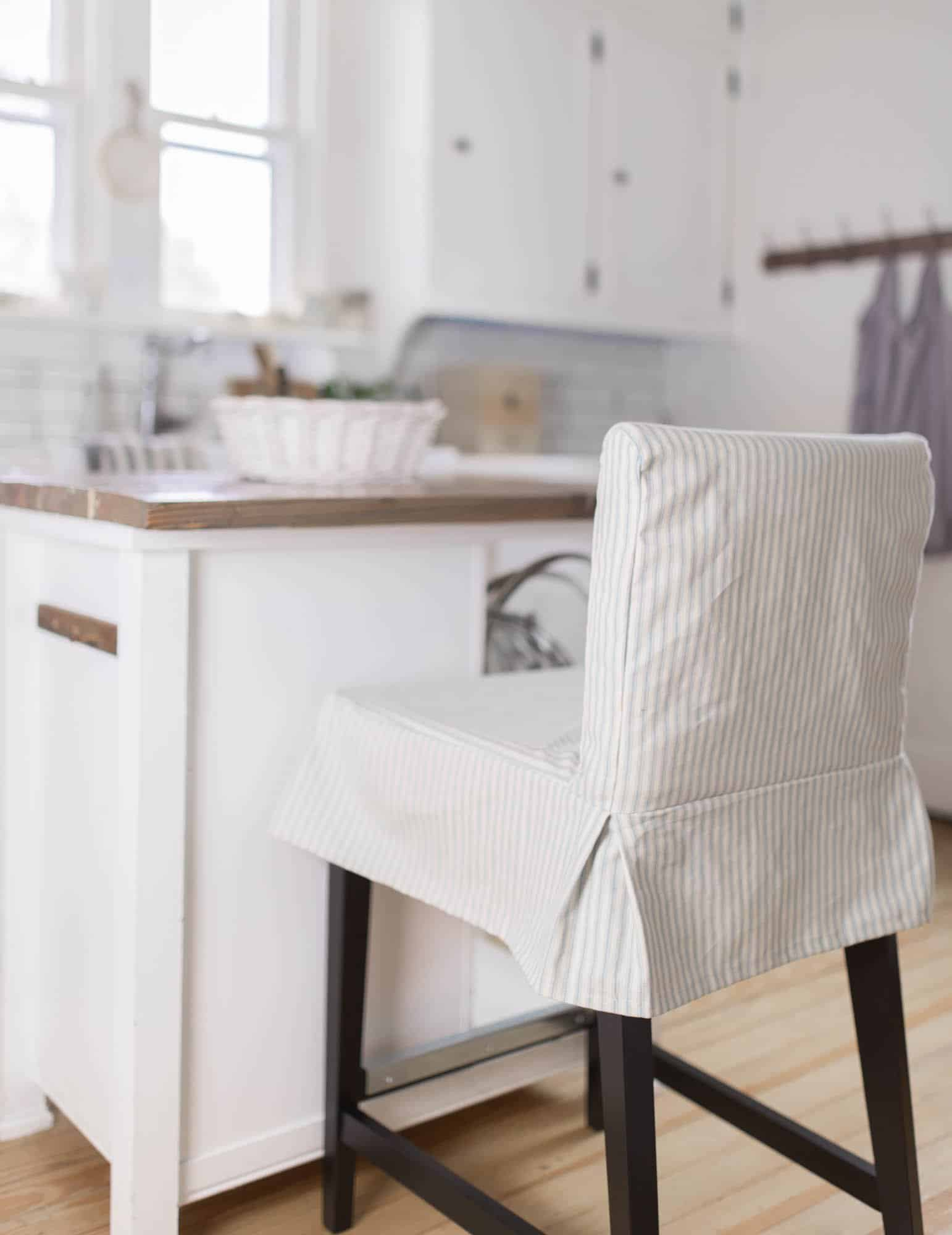 Learn how to sew a parsons chair slipcover for the ikea henriksdal bar stool.  This henriksdal chair cover sewing pattern includes a video tutorial.