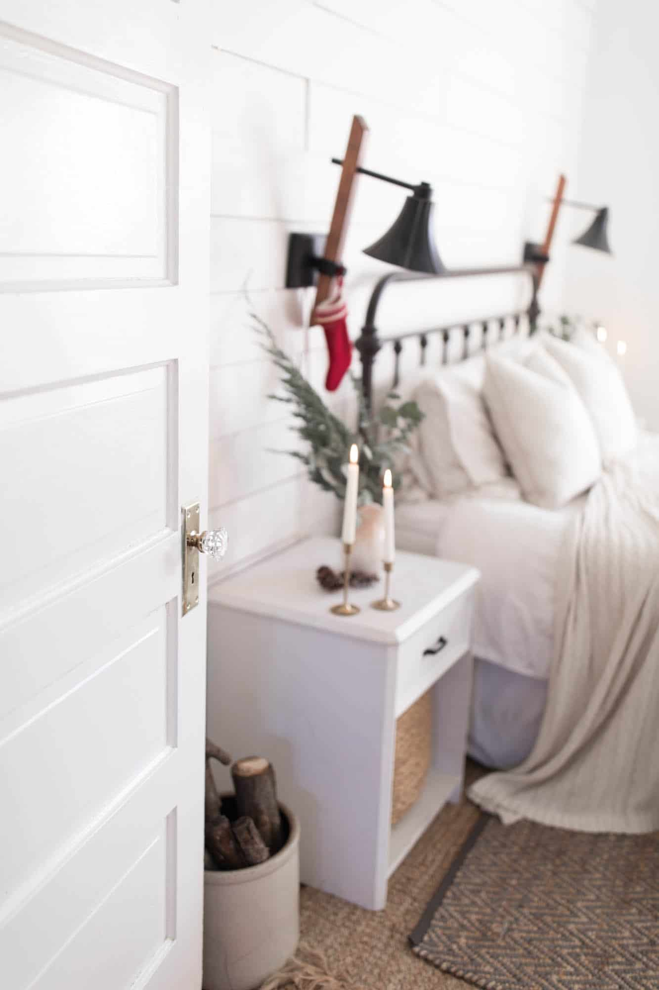 Natural Christmas Decorations Fresh Greenery and Candles in our Farmhouse Bedroom