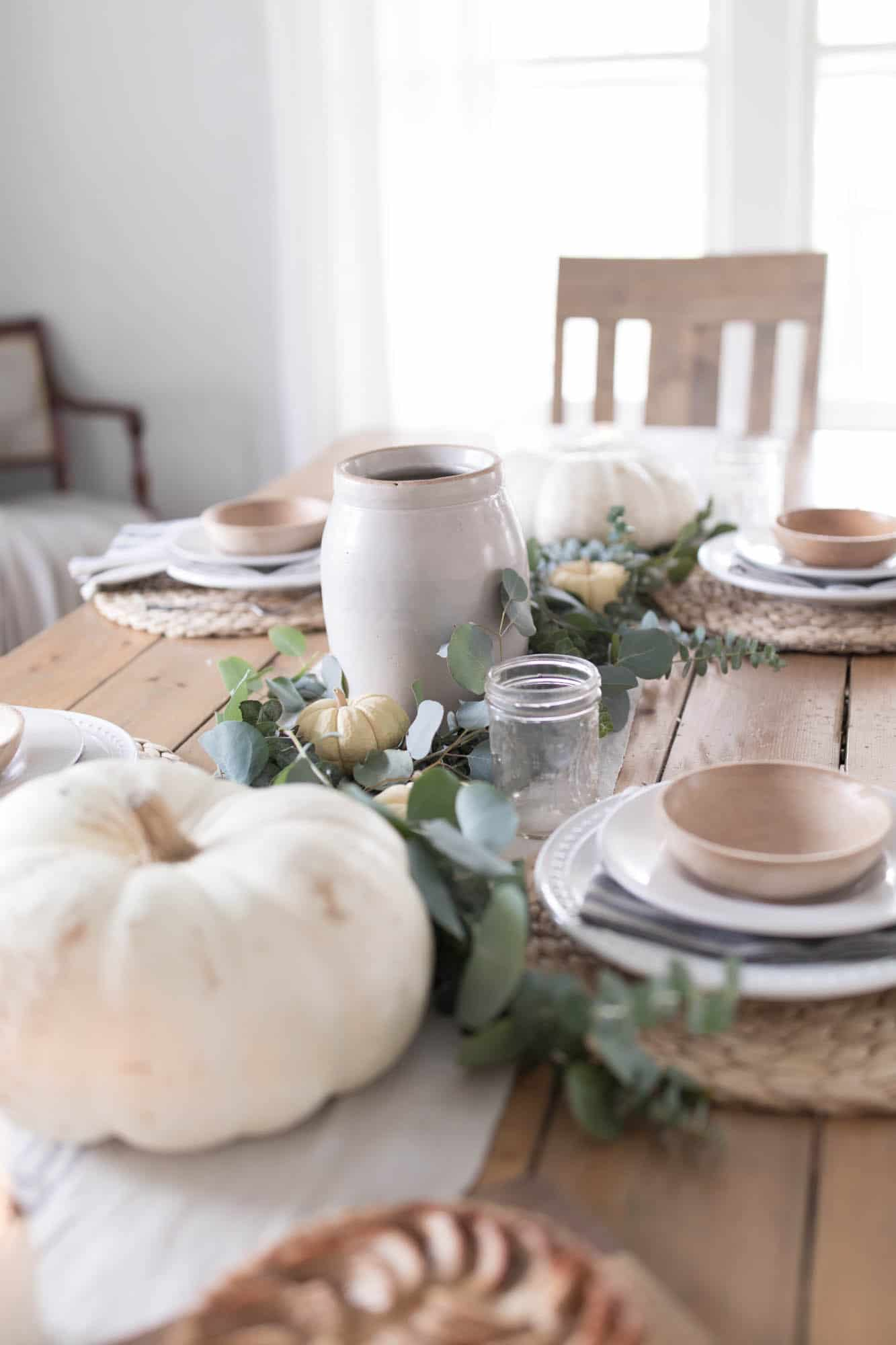 Farmhouse Thanksgiving Table Decor White and Wood Natural Elements