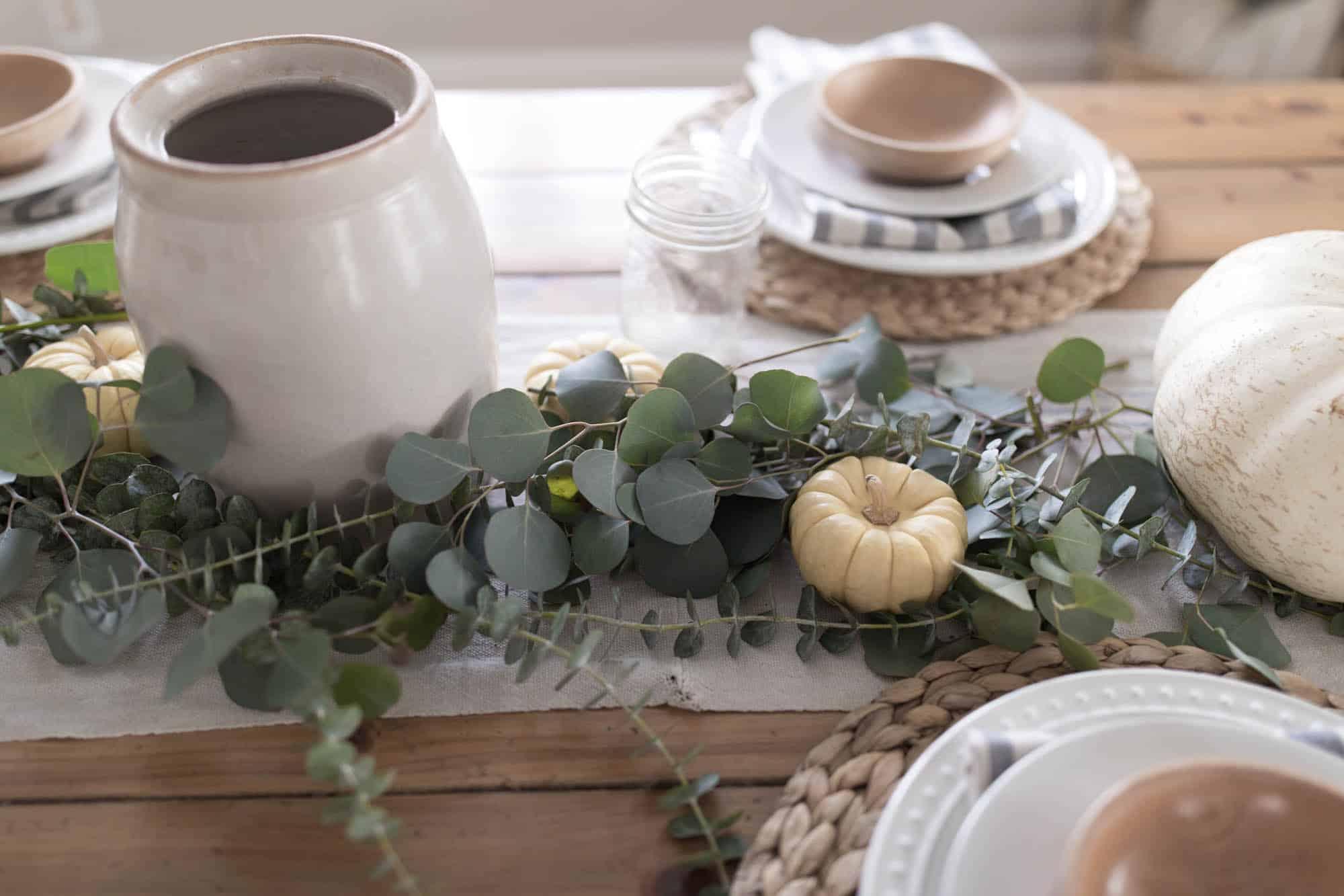 Thanksgiving Table Decor Eucalyptus