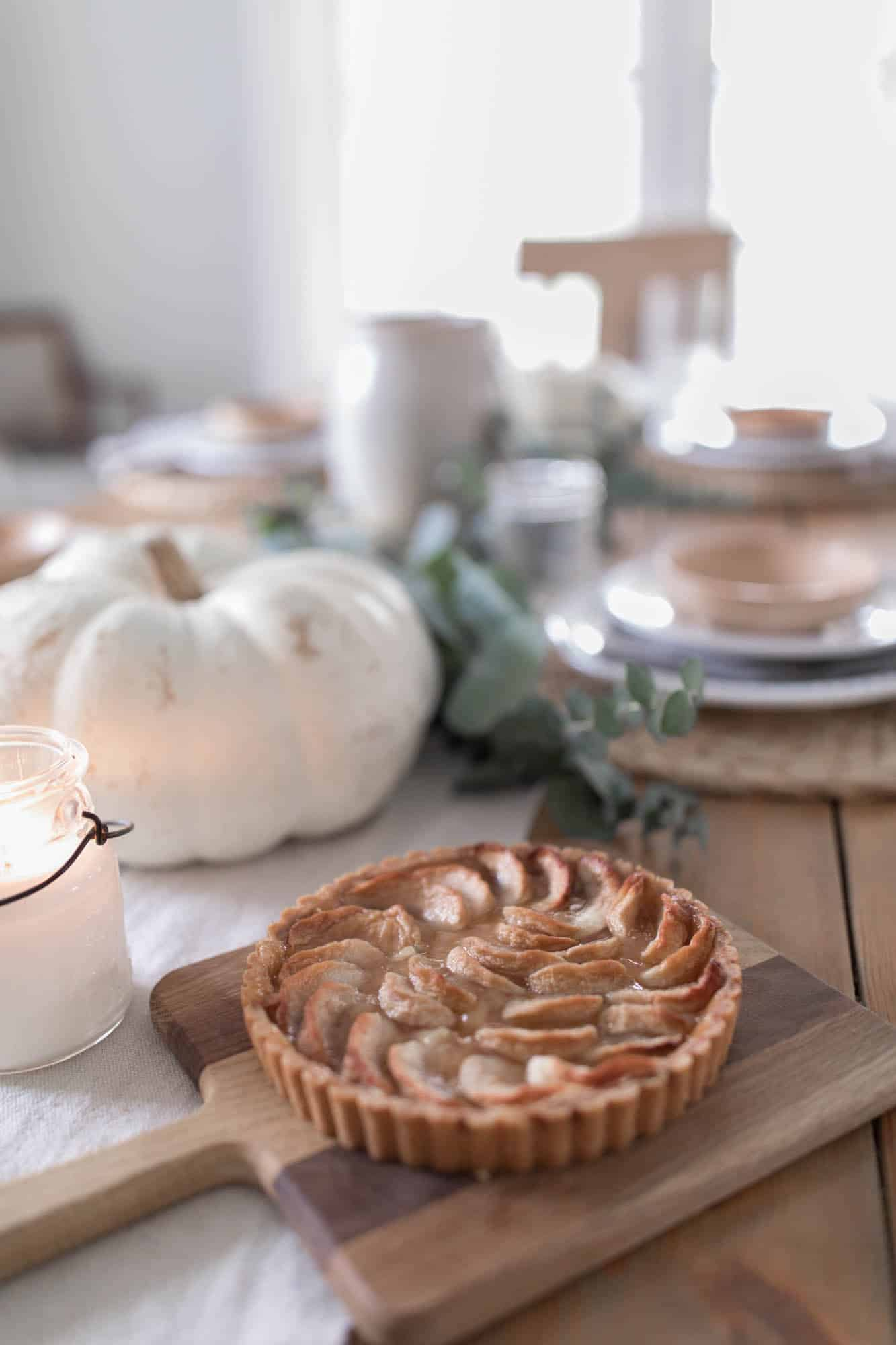 Farmhouse Thanksgiving Table Decor Pumpkins and Eucalyptus