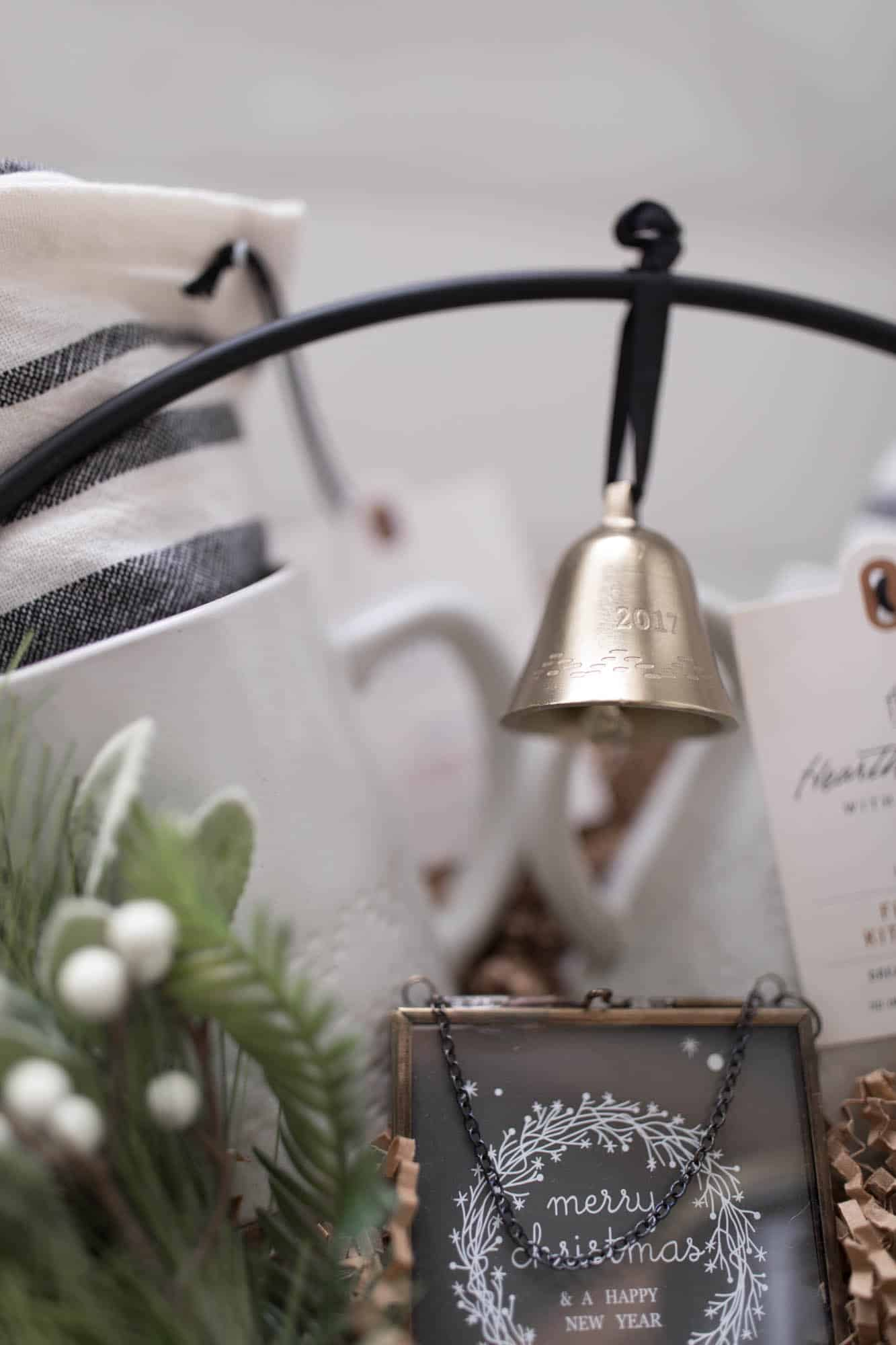 Hearth and Hand 2017 Brass Bell Christmas Gift Basket Idea