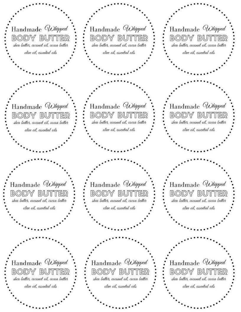 DIY All Natural Whipped Body Butter Label