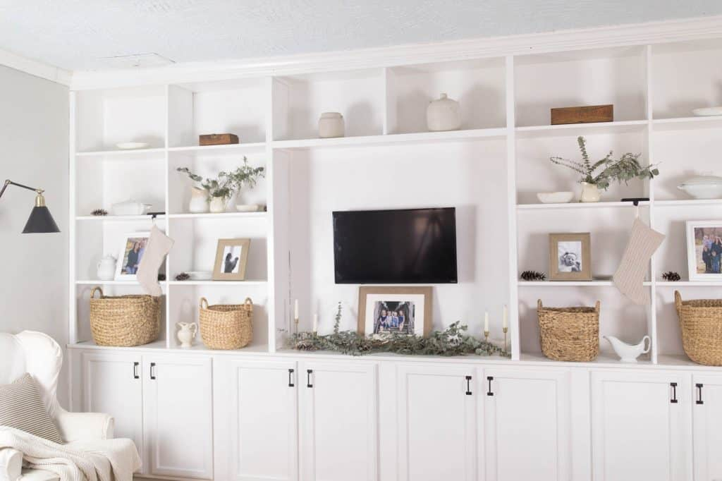 Farmhouse Living Room Built Ins Decorated for Winter