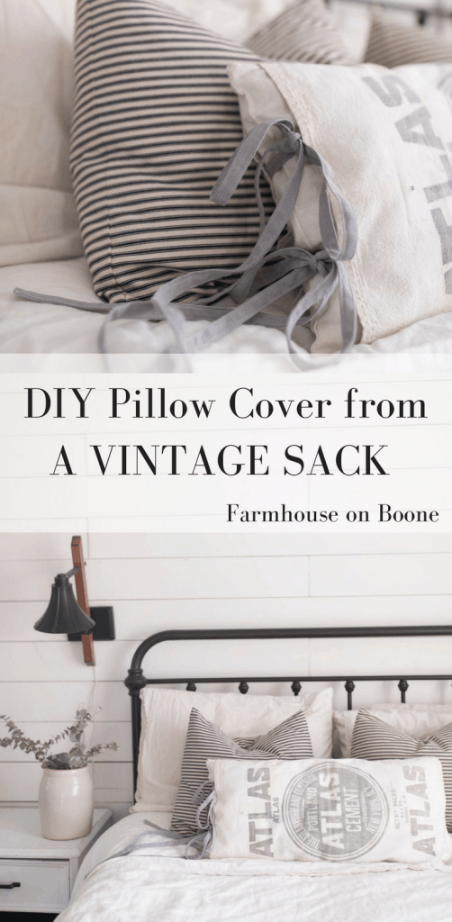 How to sew a pillow cover from a vintage sack. Farmhouse style home decor diy