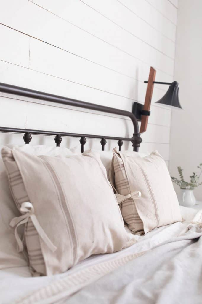 farmhouse style grain sack pillows