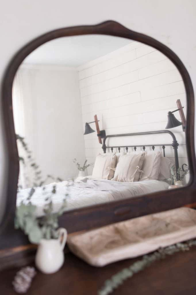 winter farmhouse bedroom eucalyptus wreath
