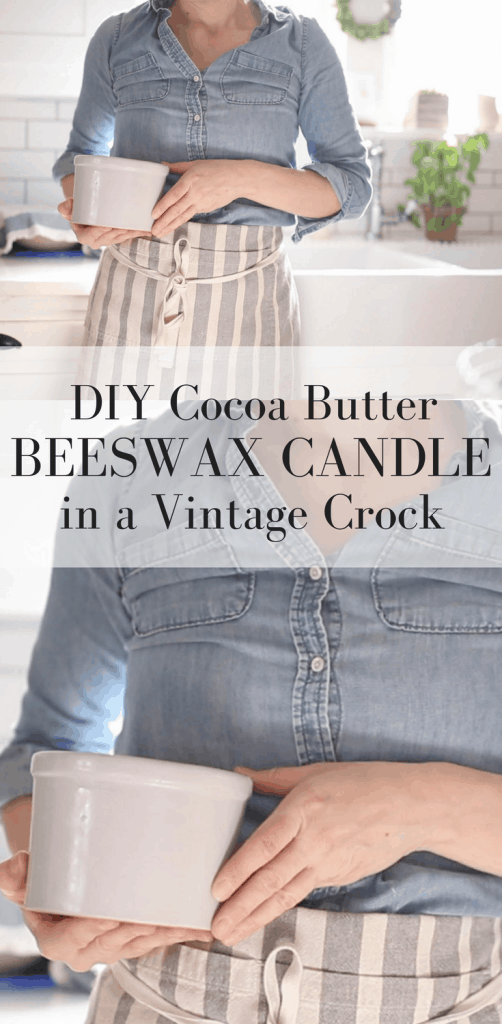 DIY Cocoa Butter Beeswax Candles in a Vintage Crock