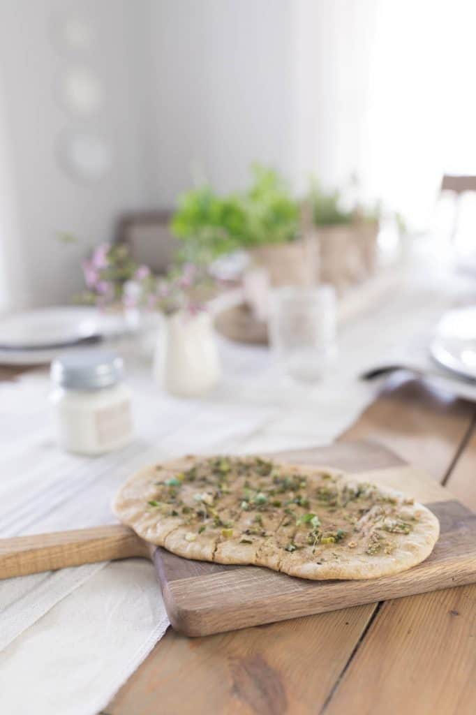 Sourdough Flat Bread with Fresh Herbs Garden Table Setting