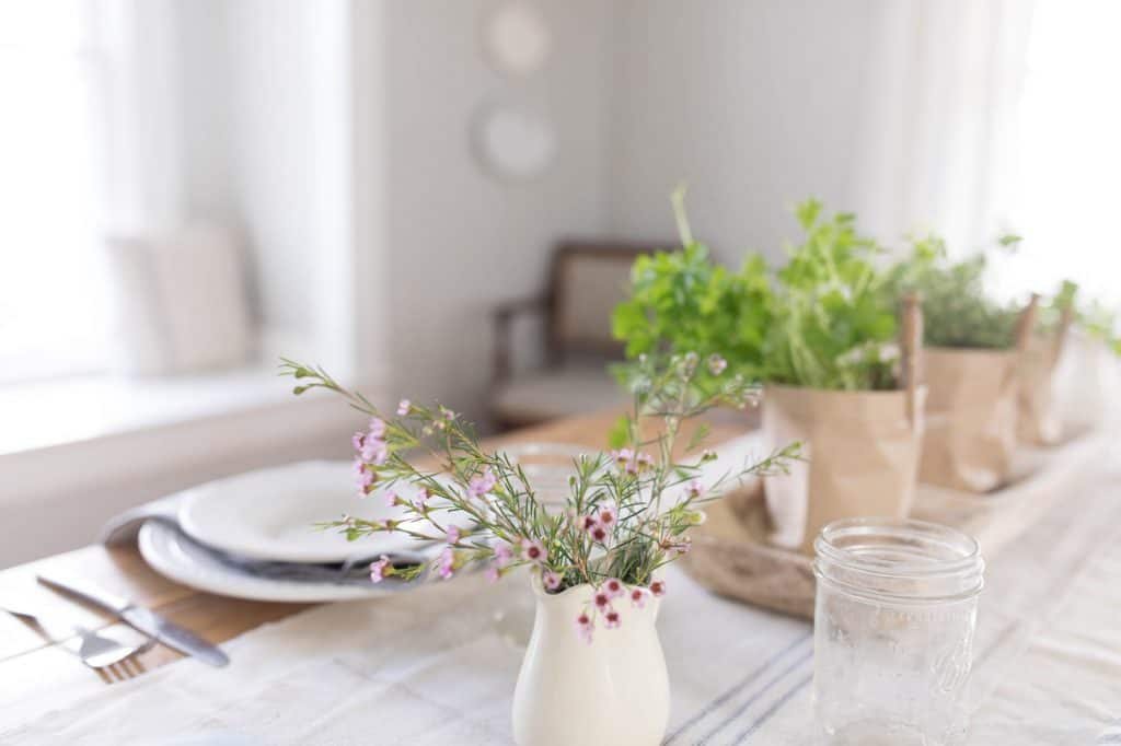 wax flowers farmhouse table setting for spring