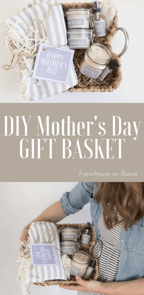 DIY Mother's Day Gift Basket Idea with Free printable labels