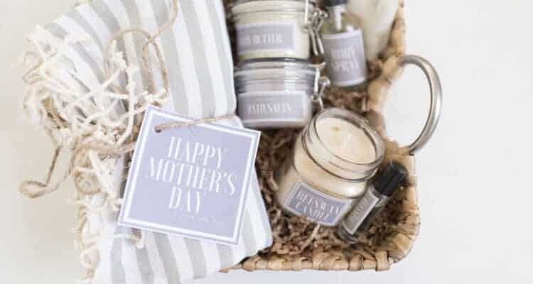 Handmade Mother's Day Gift Baskets with Free Printable Labels