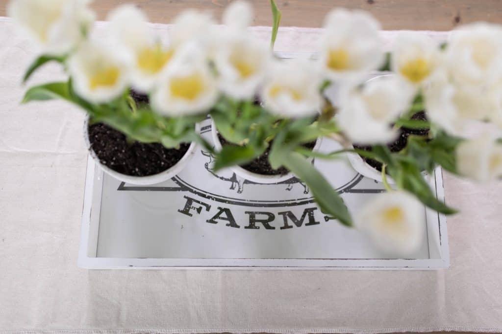 Simple spring centerpiece farmhouse table decor