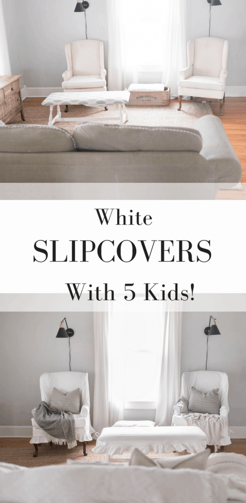 White Slipcovers with kids review. Second hand furniture transformed with slipcovers
