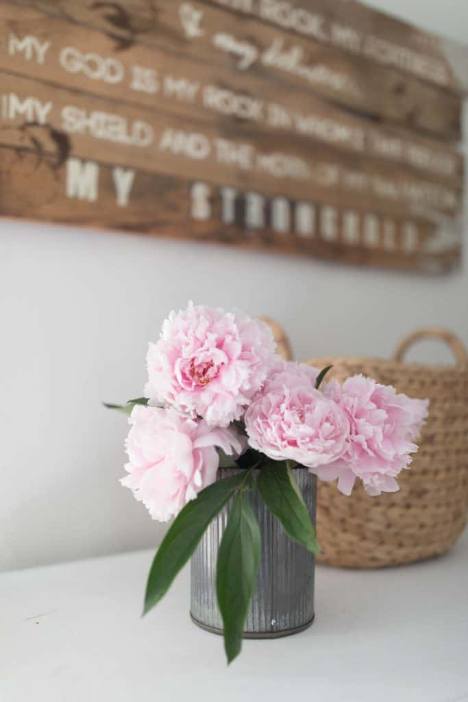summer bedroom peonies farmhouse style